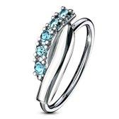 Helix piercing hoop ring twisted aqua ©LMPiercings