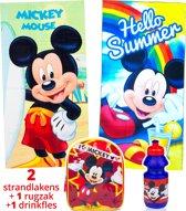 Mickey Mouse strandlaken kinderen 70x140 | set 2 stuks + rugzak + drinkfles | badhanddoeken BS07