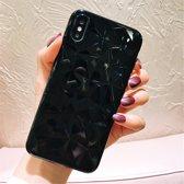 iPhone X telefoonhoesje luxe diamant textuur zwart