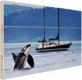 Orka bij een boot Hout 30x20 cm - klein - Foto print op Hout (Wanddecoratie)