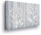 Floral White Canvas Print 60cm x 40cm