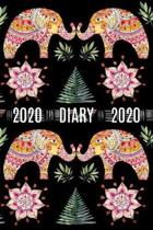 2020 Daily Diary Journal, Watercolor Indian Elephants