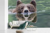 Fotobehang vinyl - Een Grizzlybeer zwemt in het blauwe water breedte 390 cm x hoogte 260 cm - Foto print op behang (in 7 formaten beschikbaar)