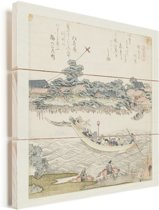 De Onmaya rivieroever - Schilderij van Katsushika Hokusai Vurenhout met planken 20x20 cm - klein - Foto print op Hout (Wanddecoratie)
