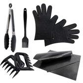 Barbecue Set Met Tang, Bakkwast, Vlees Klauwen, Hittebestendige Handschoenen en een GRATIS BBQ Mat - Accessoires - Zwart