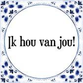 Tegeltje met Spreuk (Tegeltjeswijsheid): Ik hou van jou! + Kado verpakking & Plakhanger