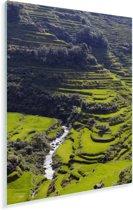 De zon straalt op de groene Rijstterrassen van Banaue in de Filipijnen Plexiglas 60x90 cm - Foto print op Glas (Plexiglas wanddecoratie)