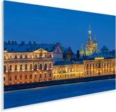 De kerk van de verlosser op het bloed op een winteravond in Rusland Plexiglas 90x60 cm - Foto print op Glas (Plexiglas wanddecoratie)