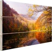 De typische herfstachtige natuur Hout 120x80 cm - Foto print op Hout (Wanddecoratie)