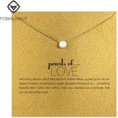 Pearl of love ketting liefde parel goudkleur ketting