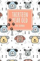 Thirteen Year Old Girl Journal: 6x9'' Cute 13 Year Old Birthday Dog Lined Notebook/Journal Gift For Girls