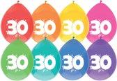 Ballonnen 30 jaar 8 stuks multi/Wit