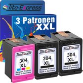 PlatinumSerie® color set 3 x cardridge alternatief voor HP 304 XL black & color