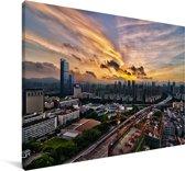 Zonsopkomst in Shenzhen Canvas 30x20 cm - klein - Foto print op Canvas schilderij (Wanddecoratie woonkamer / slaapkamer) / Aziatische steden Canvas Schilderijen