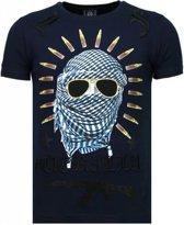 Local Fanatic Freedom Fighter - Rhinestone T-shirt - Blauw - Maten: S
