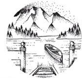Water overdraagbare Tijdelijke Tattoo: Meertje en Bergen 60x60mm