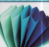 6 gekleurde vakken documentenmap blauw variatie