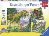 Ravensburger Heersers van de oertijd Drie puzzels van 49 stukjes