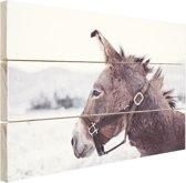 Ezel in de sneeuw Hout 30x20 cm - klein - Foto print op Hout (Wanddecoratie)