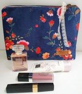 Toetie & Zo Handgemaakte Toilettas Fluweel Bloem Blauw, beautycase, makeuptas
