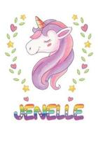 Jenelle: Jenelle Notebook Journal 6x9 Personalized Gift For Jenelle Unicorn Rainbow Colors Lined Paper