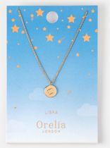 Orelia ketting kort - met muntje met sterrenbeeld 'Weegschaal' - goudkleurig - 40,5 cm + 5 cm verlengstuk
