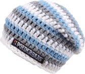 Gekleurde lange beanie wit/licht grijs/blauw - LB15870