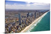 Luchtfoto van de Gold Coast in Australië Aluminium 180x120 cm - Foto print op Aluminium (metaal wanddecoratie) XXL / Groot formaat!