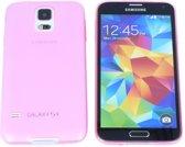 Samsung Galaxy S5 0.3 mm Ultra Thin Matte Soft Back Skin case Transparant Roze Pink