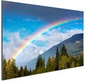 Kleurrijke regenboog over de lucht Aluminium 180x120 cm - Foto print op Aluminium (metaal wanddecoratie) XXL / Groot formaat!