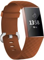 123Watches.nl Fitbit charge 3 sport wafel band - bruin - SM