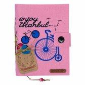 Biggdesign Enjoy Istanbul Pink Felt Notepad | Vilten hoes | Pocket Kalender | Speciaal kunstenaarontwerp | Ongevoerd ongedateerd blad | 12,5 x 16 cm | Craft kleurplaten | Kliksluiting | 300 vellen