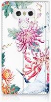 LG G6 Uniek Standcase Hoesje Bird Flowers