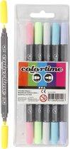Colortime dubbelstift, lijndikte: 2,3+3,6 mm, pastelkleuren, 6stuks