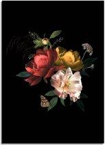 DesignClaud Vintage boeket bloemen poster - Bloemstillevens - Zwart Rood Geel A4 + Fotolijst wit