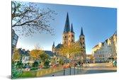 Uitzicht op de Bonn Minster kerk in het Duitse Bonn Aluminium 90x60 cm - Foto print op Aluminium (metaal wanddecoratie)