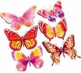 Vlinder stickers set roze/oranje 3D