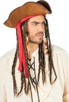 Piratenhoed Jack met haarband en dreads bruin