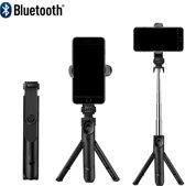 DrPhone Z1 Bluetooth draadloze Inklapbare Action Tripod Selfie Stick - Tripod Statief houder  - Opvouwbaar + Bluetooth remote control - Voor o.a iPhone Xs/XS Max /XR/8 / LG G7 / Note 8/9 / Oneplus 6/ Moto G6(Plus)/ S9/S9 Plus / P20 / Sony etc - Zwart