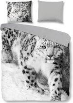Pure Snow Leopard - Dekbedovertrek - Eenpersoons - 140x200/220 cm + 1 kussensloop 60x70 cm - Grijs