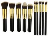 Kabuki Professionele Make-up Kwasten - Kwastenset - Zwart/Goud - 10 delig