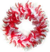 Veren krans rood/wit 30 cm
