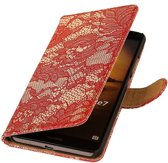 Microsoft Microsoft Lumia 535 Rood | Lace bookstyle / book case/ wallet case Hoes  | WN™