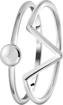 Lucardi - Zilveren ring 2delig triangle/disc