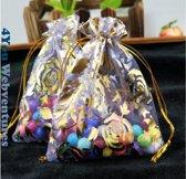 50x Paarse Tulle Organza zakjes 10 x 15 cm met trekkoordje. Snoepzakjes – cadeauzakjes – trouwerij – trouwfeest – babyshower – roze – paars met gouden rozen opdruk