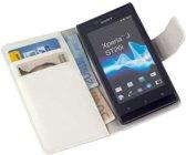LELYCASE Bookstyle Wallet Case Flip Cover Bescherm Sony Xperia J Wit