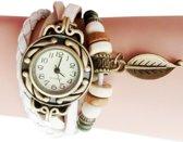Lederen Quartz Horloge | Retro Armband | Wit