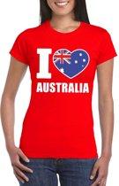 Rood I love Australie fan shirt dames M