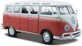 Modelauto Volkswagen T1 Samba Van busje rood 1:24 - speelgoed auto schaalmodel