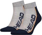 Head - Unisex 2-Pack Performance Quarter Sokken Wit Grijs Oranje - 43-46